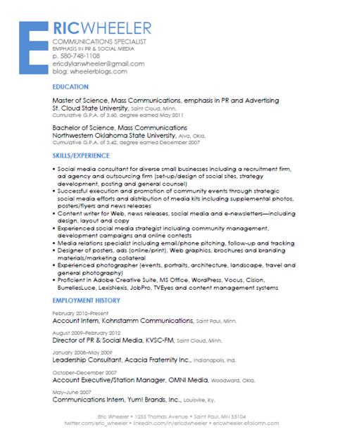 Eric D Wheeler's Resume - PR & Social Media Specialist