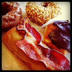 I found a donut shop that had bacon on their donuts!