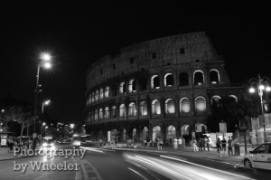 The Colosseum in Rome, Italy, black and white photograph. Copyright Eric Wheeler, 2009.