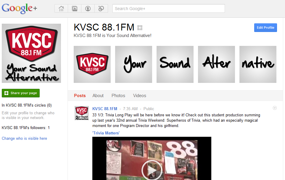 KVSC 88.1FM Google+ Brand Page example of a profile banner.