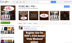 KVSC Google+ Brand Page profile banner for Trivia Weekend.