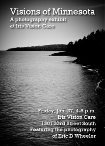"Art show invitation for ""Visions of Minnesota,"" a photography exhibit by Eric D Wheeler."