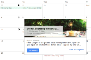 Google+ Events Integrated in Google Calandar
