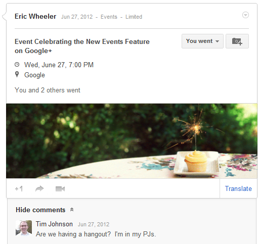 New Google+ Events has animated themes.