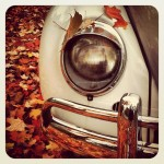 A Volkswagen Beetle in the fall colors.