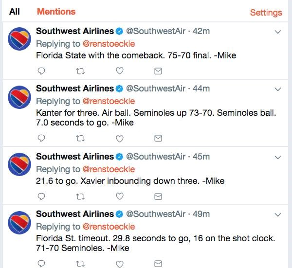 Southwest Airlines recently live-tweeted an NCAA Men's Tournament game.