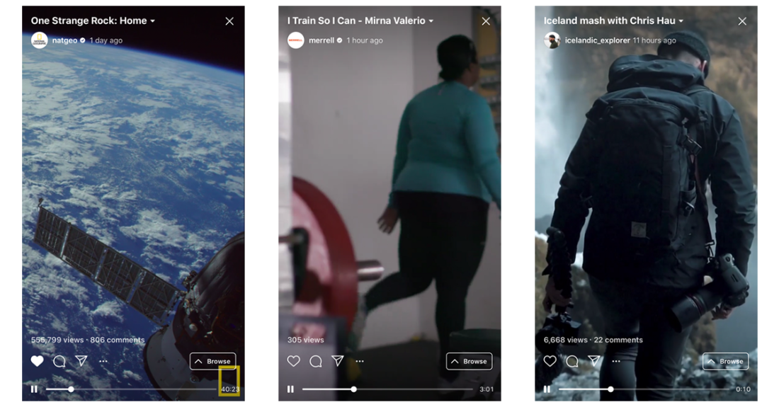 The new IGTV from Instagram in use.